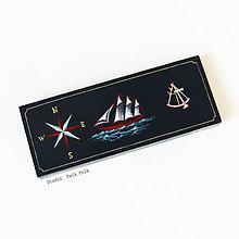 Taštičky - Puzdro s plachetnicou (ručne maľované)  (Š8.5cm- V3.2cm -D22cm (s priečinkami)) - 10419010_