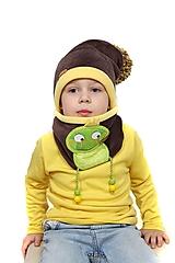 Detské súpravy - Jedinečná čiapka so žabkou - 10420482_