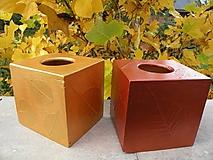 Krabičky - Originální krabička na kapesníky starozlatá s listy - 10420657_
