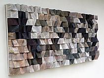 Dekorácie - Závesný drevený mozaikový 3D obraz - 10421601_