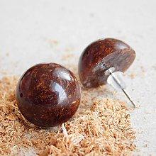 Náušnice - Náušničky 'Woody' - polguľaté - 10420802_