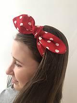 Ozdoby do vlasov - čelenka bodkovaná červeno biela - 10418412_