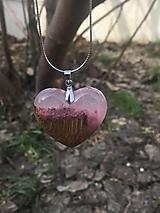 Náhrdelníky - Prívesok Srdiečko Pink&Wood - 10419001_