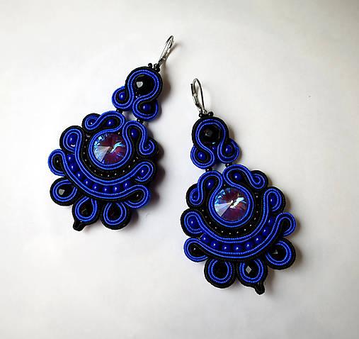 Modro - čierne náušnice