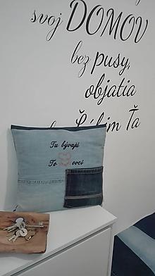 Úžitkový textil - Rifľový poťah na lavičku / botník + návlečku s vtipným textom domáceho - 10418254_