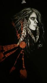 Oblečenie - Pánske tričko batikované, maľované indiánka - 10420535_