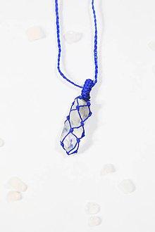 Náhrdelníky - Macrame horský krištáľ v modrom - 10419635_
