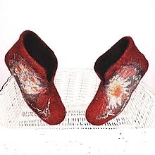 Obuv - Plstené papuče s margarétkami - 10419642_