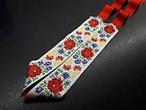 Opasky - Folk opasok (Biela stuha s fareb.kvetmi) - 10422539_