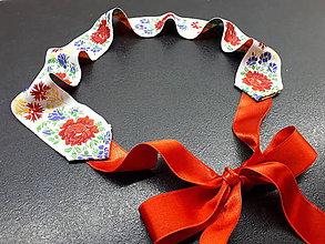 Opasky - Folk opasok (Biela stuha s fareb.kvetmi) - 10422536_