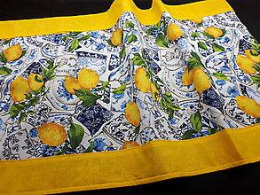 Úžitkový textil - Sada s kachličkami (Stredový obrus.žltý lem 136×47 cm) - 10424914_