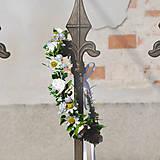 Ozdoby do vlasov - Nežný  biely venček z ružičiek a sedmokrások - 10423551_