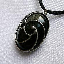 Náhrdelníky - Prívesok so zlatým obsidiánom ☼ JOHANNE ☼ - 10425958_