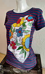 Tričká - Tričko kvetovano - pásikavé - 10426137_