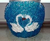 Svietidlá a sviečky - Sklenený svietnik - Labute - 10425088_