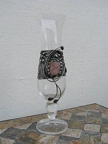 Nádoby - Cínovaná Váza s ruženínom - 10424967_