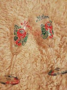 Nádoby - Folk poháre červená ružička - 10423557_