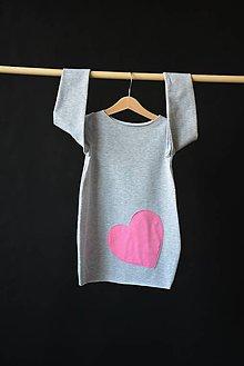 Detské oblečenie - Teplákové šaty/tunika Pinkki Heart - 10423965_