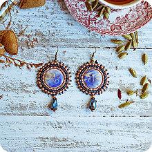 Náušnice - Les Libellules - vyšívané náušnice (Modrá) - 10424785_