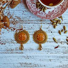 Náušnice - Les Libellules - vyšívané náušnice (Žltá) - 10424871_