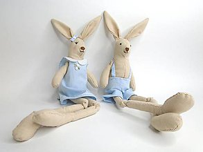 Dekorácie - Textilné zajačikovia - 10422346_