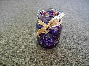 Svietidlá a sviečky - sklenený svietnik - maľovaný farbami na sklo, ozdobený zlatou stuhou - 10424406_