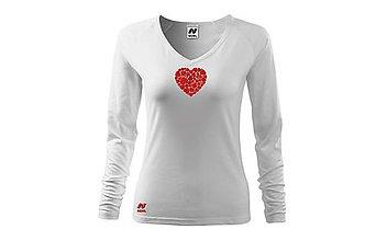 """Tričká - Vyšívané dámske tričko s motívom """"srdce v srdci"""", dlhý rukáv - 10422854_"""