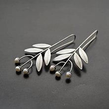 Náušnice - Náušnice lístočky s perlami - 10422098_