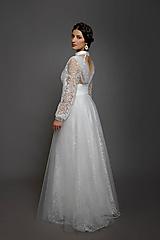 Šaty - Svadobné šaty z bodkovanej vyšívanej tylovej krajky s bolerovými rukávmi zvlášť - 10424722_