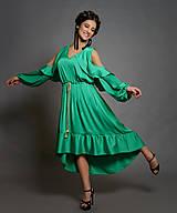 Šaty - UNI Volánové šaty z jemného nekrčivého saténiku rôzne farby - 10425014_