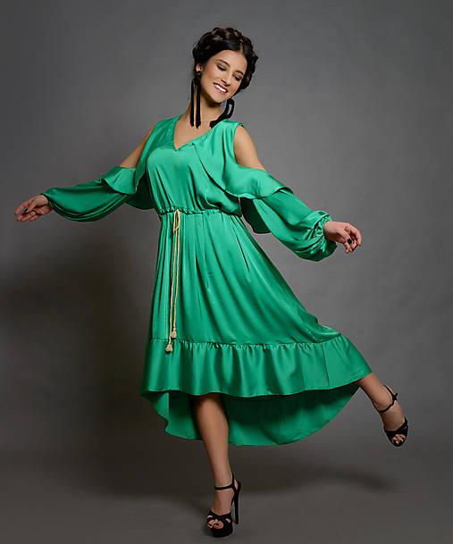 UNI Volánové šaty z jemného nekrčivého saténiku rôzne farby   Dyona ... abfb88c843d
