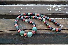 Náhrdelníky - Aventurín, láva, drevo náhrdelník - 10422459_
