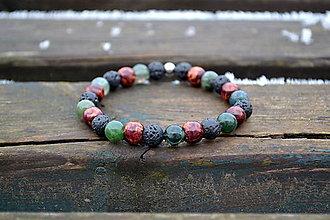 Šperky - Aventurín, láva, drevo náramok - 10422476_