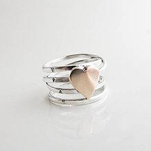 Prstene - come.t light (Love - hladký s iniciálami a zlatým srdiečkom 4 otočky) - 10425413_
