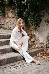 Pyžamy a župany - Dámske pyžamo dlhé z organickej bavlny s krajkou (S Natural) - 10426014_