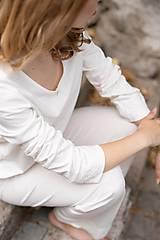 Pyžamy a župany - Dámske pyžamo dlhé z organickej bavlny s krajkou (S Natural) - 10426015_