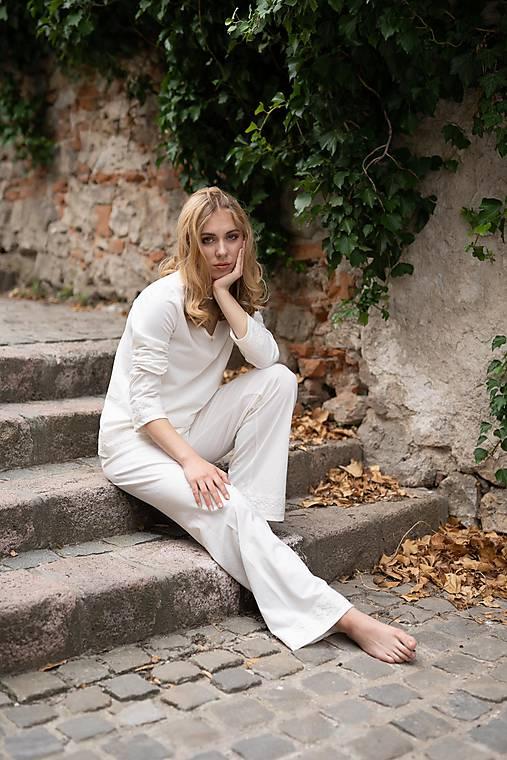 Dámske pyžamo dlhé z organickej bavlny s krajkou (S Natural)