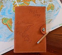 Papiernictvo - Travel Diary kožený cestovateľský zápisník - 10423635_