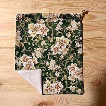 Úžitkový textil - Zero Waste Rôznostranné vrecúško (Zelené kvetové) - 10425774_