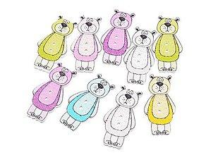 Galantéria - Drevený gombík medvedík (balíček 5ks) - 10425182_