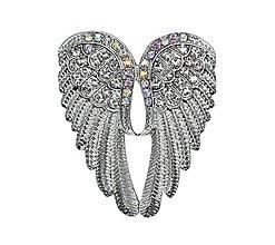 Galantéria - Luxusná štrasová brošnička anjelske krídla - 10425238_
