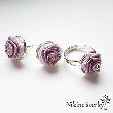 Sady šperkov - Fialové ružičky - 10424260_