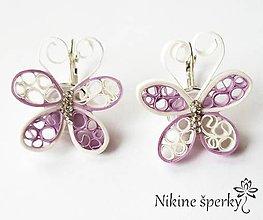 Náušnice - Fialové motýliky - 10424285_