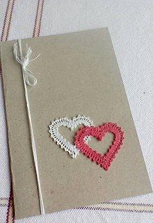 Papiernictvo - pohľadnica svadobné srdiečka - 10424761_