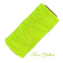 Galantéria - Linhasita voskovaná šnúrka na micro macramé, 1mm, bal.1klbko (168m), farebná škála č.3 (Neon Yellow) - 10424979_