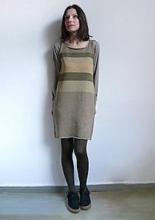 Šaty - šaty kaki hnedobéžové - 10424502_