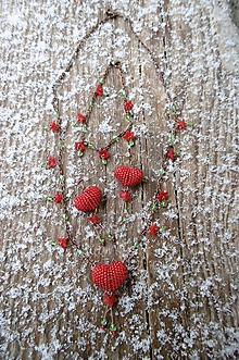 Sady šperkov - srdiečkový set červený - 10429020_