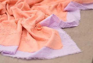 Šatky - Oranžovo-fialová šatka z jemnej bavlnenej látky. - 10426497_