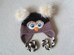 Detské čiapky - Plyšová sovička na hlavičku :) - 10428375_