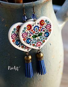 Náušnice - Náušnice FOLK srdce VII. modré - 10428904_